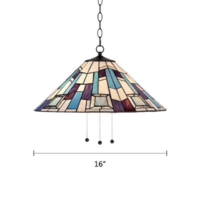 Stained Glass Conical Drop Light Tiffany Vintage 1 Bulb Suspended Light in Multi Color