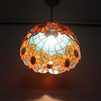 2 Lights Sunflower Design Hanging Light Tiffany Style Stained Glass Drop Light in Multi Color