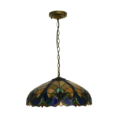 1 Light Dome Pendant Light Tiffany Victorian Stained Glass Drop Light for Restaurant