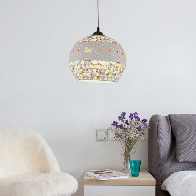 Contemporary Mosaic Pendant Lamp Glass Single Light Drop Ceiling Lighting in Bronze Finish