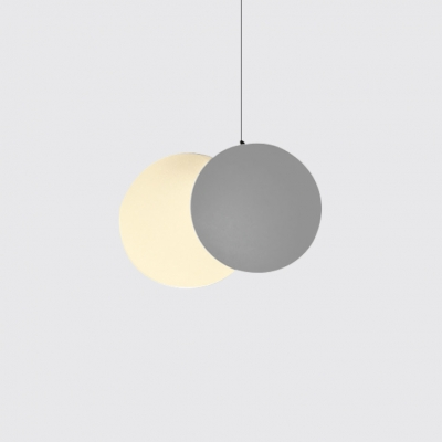 Acrylic Shade Moon Hanging Light Nordic Style White Finish LED Pendant Lamp for Cafe Restaurant