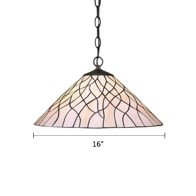 Coolie Suspended Light Tiffany Style Vintage Glass Single Bulb Pendant Light in Beige
