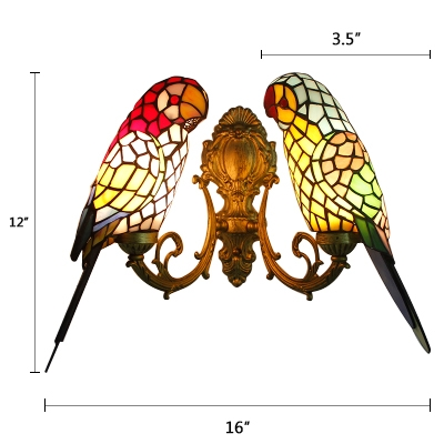 Double Parrot Wall Lamp Tiffany Retro Stained Glass 2 Bulbs Lighting Fixture in Brass/Bronze