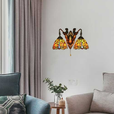 Dragonfly Design Wall Lamp with Belle Supported Dome Glass Shade, 2 Light