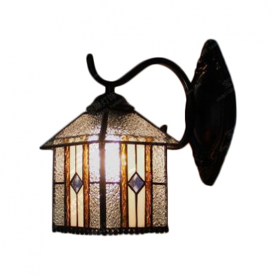 Lantern Wall Lamp Traditional Tiffany Style Rippled Glass Decorative Wall Sconce