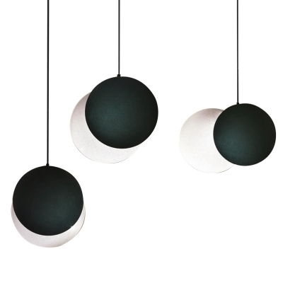 Matte Black Moon Pendant Lights Nordic Style Acrylic Shade LED Hanging Lamp for Cafe Restaurant