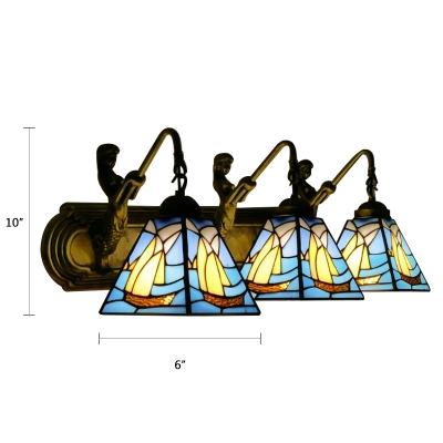 Nautical Tiffany Sailboat Sconce Light Stained Glass 3 Heads Wall Mount Light with Mermaid