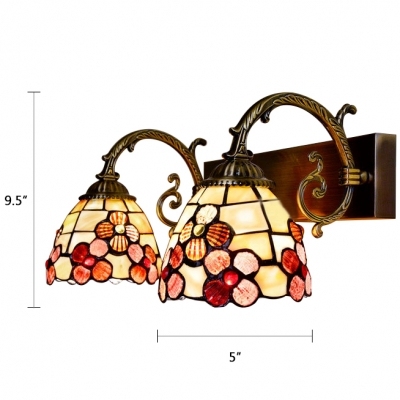 Tiffany Style Shelly Wall Lamp Metal Handcrafted Double Heads Wall Mount Light in Red