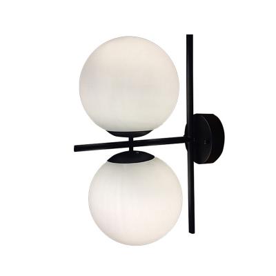 2 Heads Ball Sconce Lighting Modern Chic White Glass Lighting Fixture in Black for Restaurant