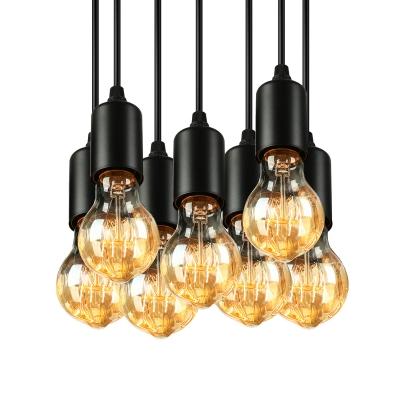 7 Light Edison Bulb Led Multi Light Pendant In Black For