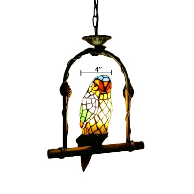 Bird Cage Tiffany Pendant with One Parrot