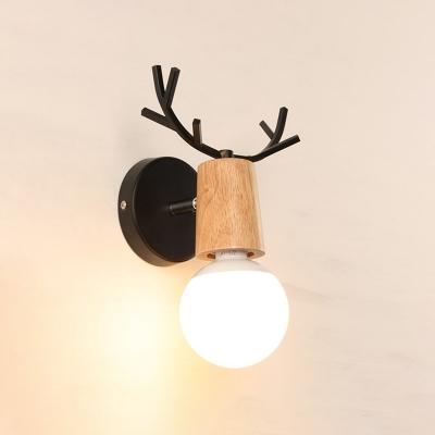 Black/White Antler Sconce Light Nordic Style Wood Single Head Wall Mount Light for Children Room