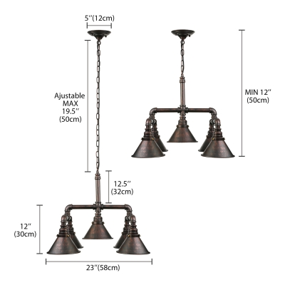 Copper Patina Industrial 5 Light Chandelier in Cone Shade Wrought Iron Pipe Hanging Pendant Down Lighting