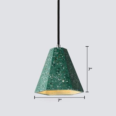 Geometric Pendant Light Colorful Modern Concrete LED Drop Light for Hallway Staircase