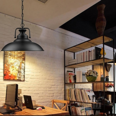 Industrial Hanging Lamp 12.5/15 Inch Wide with Black Barn Shade