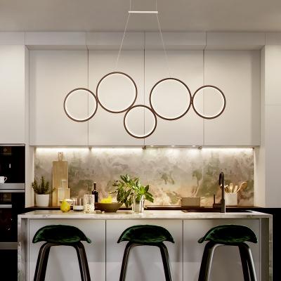 Metal Circular Suspended Lamp Minimalist 3/5 Light Hanging Lamp in Black for Bedroom