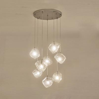 Multi Light Cube LED Hanging Lamp Glass Cluster Pendant Light for