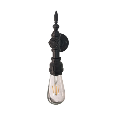 Open Bulb Wall Light Metal Single Sconce In Black With On Off