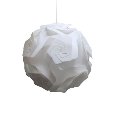 Stylish Modern Globe Lighting Fixture Plastic 1 Bulb DIY Ceiling Pendant Light in White