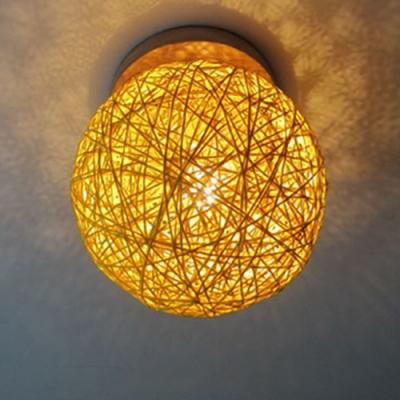 1 Bulb Globe Flush Mount Lighting Simplicity Colorful Wooden Ceiling Light for Kids