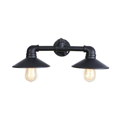 2 Heads Railroad Wall Mount Light Retro Style Wrought Iron Wall Lamp in Black for Warehouse, HL500211