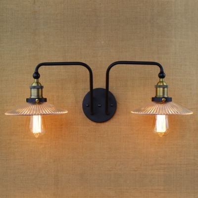 2 Heads Scalloped Sconce Light Industrial Metallic Wall Light Fixture in Aged Brass for Staircase, HL499042