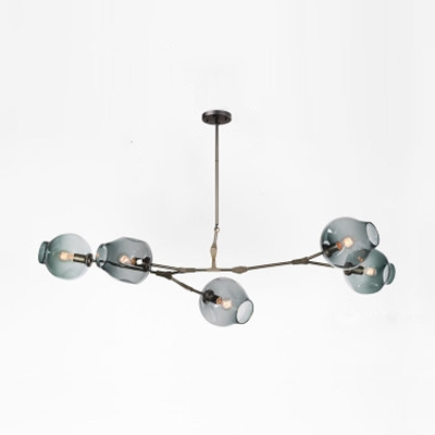 5 Light Branch Chandelier Light Contemporary Modern Faded Blue Glass Hanging Lamp in Black