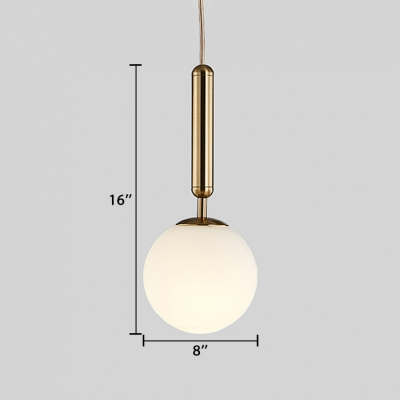 Ball LED Suspension Light Contemporary Hand Blown Glass Accent Drop Light in White