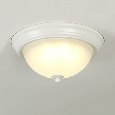 Bowl LED Ceiling Fixture Rustic Style Frosted Glass Flush Light Fixture in White for Coffee Shop