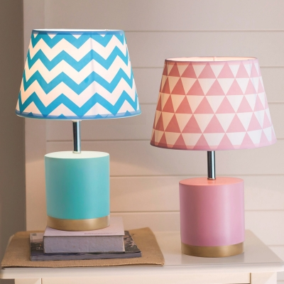Cone Single Light Table Lamp with Blue/Pink Fabric Shade Reading Light