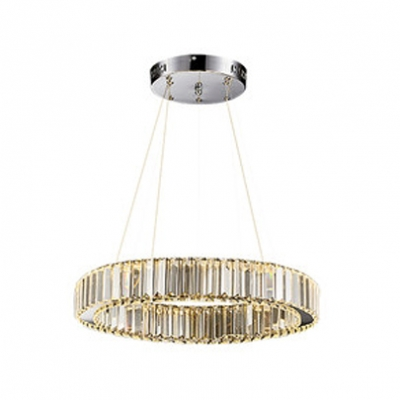 Contemporary Carousel LED Chandelier Crystal Hanging Lamp in Chrome for Living Room