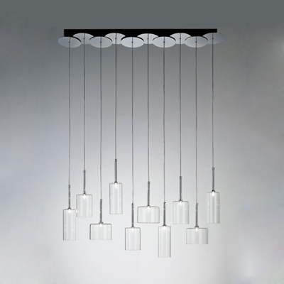 Cylinder Pendant Light Contemporary Clear Glass Multi Light Hanging Light for Restaurant