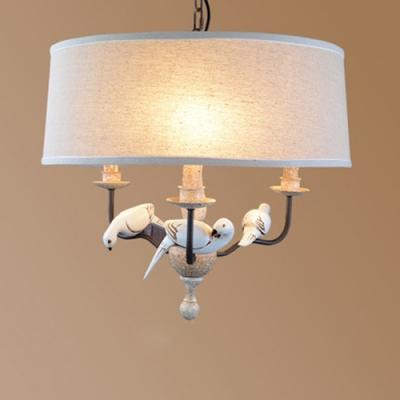 Drum Shade Chandelier Light With Resin Bird Decoration Retro Style 3