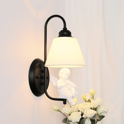 Fabric Shade Tapered Wall Lighting with Angel Baby Modern 1 Bulb Wall Sconce in Black/White