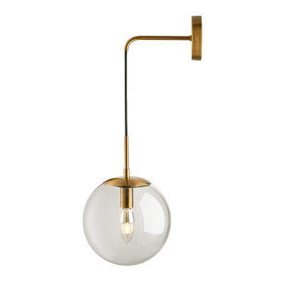 Glass Globe Wall Sconce Industrial Single Suspender Wall Lighting 8