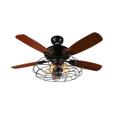 Industrial Fan Semi Flush Ceiling Light in Rustic Style