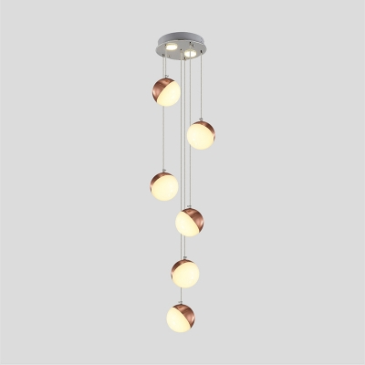 Mini Orb Cluster Pendant Light Post Modern Metal Multi Drop Light In Rose Gold Third Gear