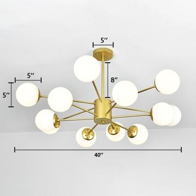 Modern Chic Sphere Hanging Lamp Milky Glass Multi Light Suspension Light for Sitting Room