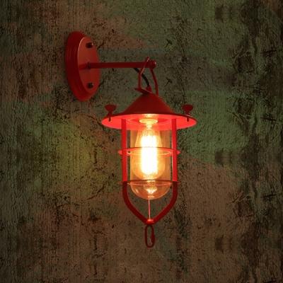 Nautical Style Wire Guard Wall Lamp Metallic Single Head Wall Mount Fixture in Green/Red