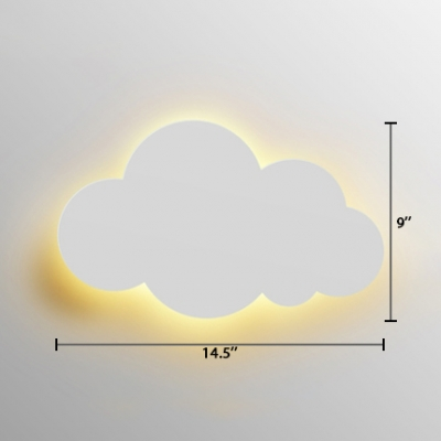 Plastic LED Wall Light Sconce with Cloud Nordic Style White Wall Lighting for Nursing Room