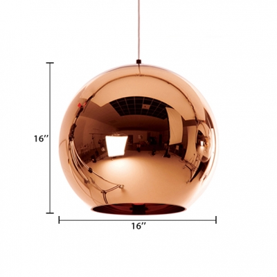 Rose Gold Mirror Ball Pendant Lamp Minimalist Simple Electroplate Glass 1 Light Drop Light