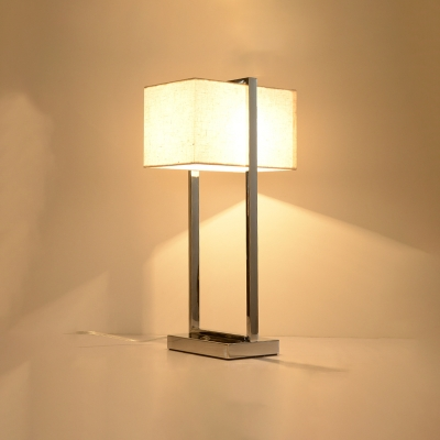 Simplicity Rectangle Table Lamp Stainless Single Head Standing Desk Light for Bedroom