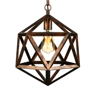 Vintage Hexagram Metal Cage Pendant Light in Black Finish Industrial 1 Light Hanging Lamp for Restaurant Kitchen Cafe