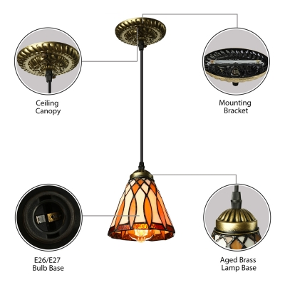 5 Inch Bell Shade Stained Glass Tiffany One-light Mini Pendant Lighting