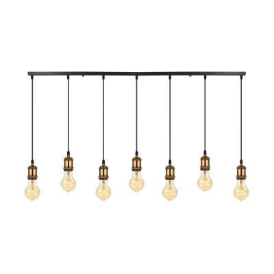 7 Light Linear LED Mulit Light Pendant in Antique Brass for Kitchen Bar Counter Restaurant