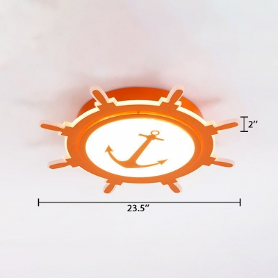 Acrylic Anchor Design Ceiling Lamp Kindergarten LED Flush Mount Light in Orange/Pink