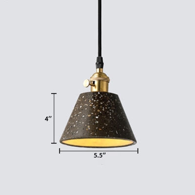 Adjustable Tapered Pendant Light Designers Style Cement Decorative Suspended Light in Gray