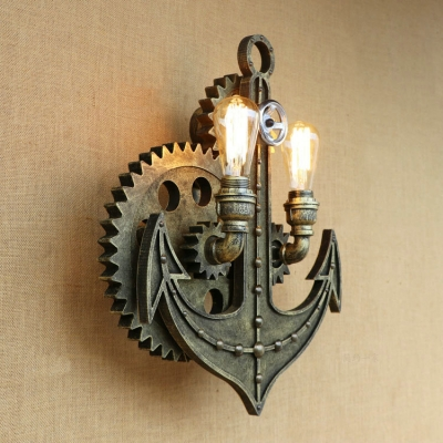 Anchor and Gear Wall Lamp Vintage Industrial Wrought Iron 2 Heads Wall Mount Light in Bronze/Rust