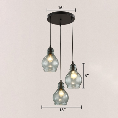 Black Finish Gourd Lighting Fixture Modern Fashion Glass Triple Ceiling Pendant Lamp