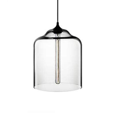 Bottle Pendant Lamp Contemporary Clear Glass 1 Head Lighting Fixture in Black for Kitchen